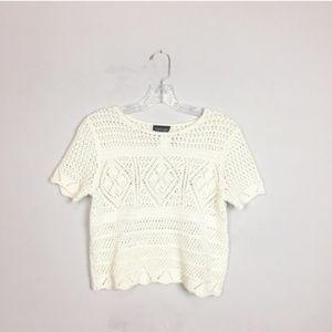 Topshop crochet knit crop top lace size 2 white